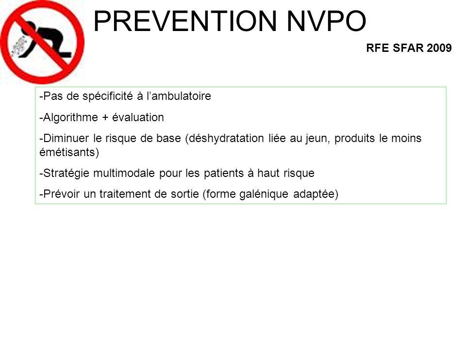 PREVENTION NVPO RFE SFAR 2009 -Pas de spécificité à lambulatoire -Algorithme + évaluation -Diminuer le risque de base (déshydratation liée au jeun, pr