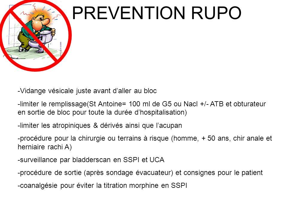 PREVENTION RUPO -Vidange vésicale juste avant daller au bloc -limiter le remplissage(St Antoine= 100 ml de G5 ou Nacl +/- ATB et obturateur en sortie