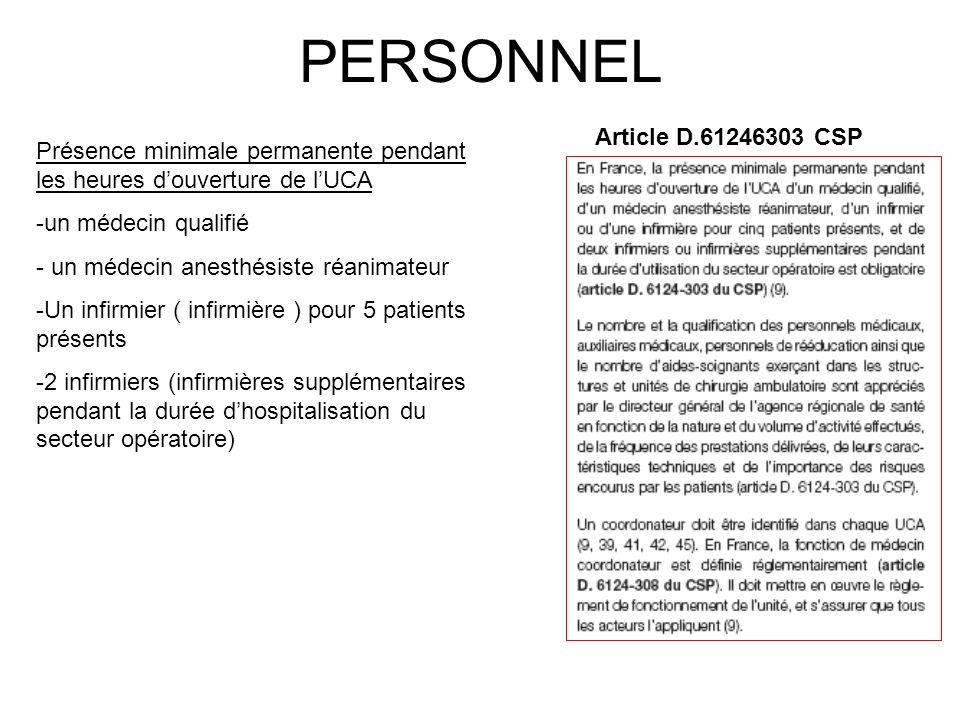 PERSONNEL Article D.61246303 CSP Présence minimale permanente pendant les heures douverture de lUCA -un médecin qualifié - un médecin anesthésiste réa