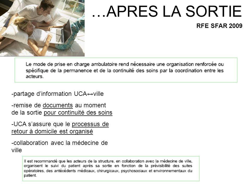 …APRES LA SORTIE RFE SFAR 2009 -partage dinformation UCAville -remise de documents au moment de la sortie pour continuité des soins -UCA sassure que l