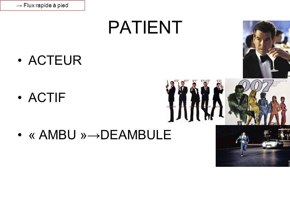PATIENT ACTEUR ACTIF « AMBU »DEAMBULE Flux rapide à pied