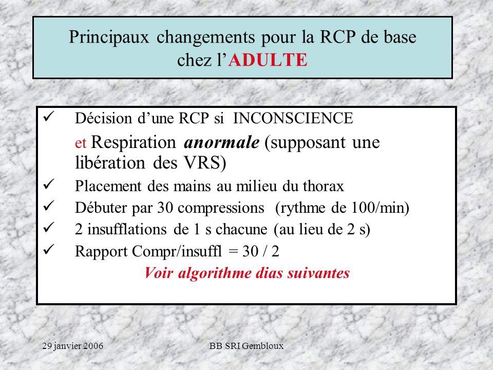 29 janvier 2006BB SRI Gembloux Principaux changements pour la RCP de base chez lENFANT (< 8 ans) Dès que larrêt respiratoire est observé, la RCP commence par 5 insufflations de 1 s.