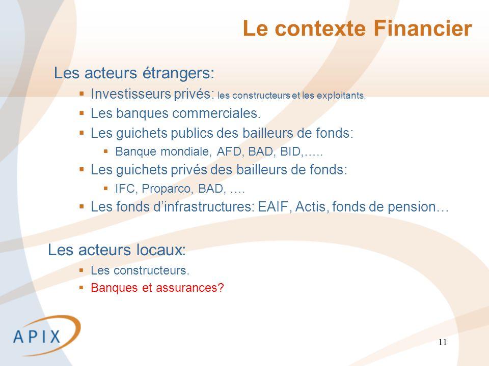 11 Le contexte Financier Les acteurs étrangers: Investisseurs privés: les constructeurs et les exploitants.