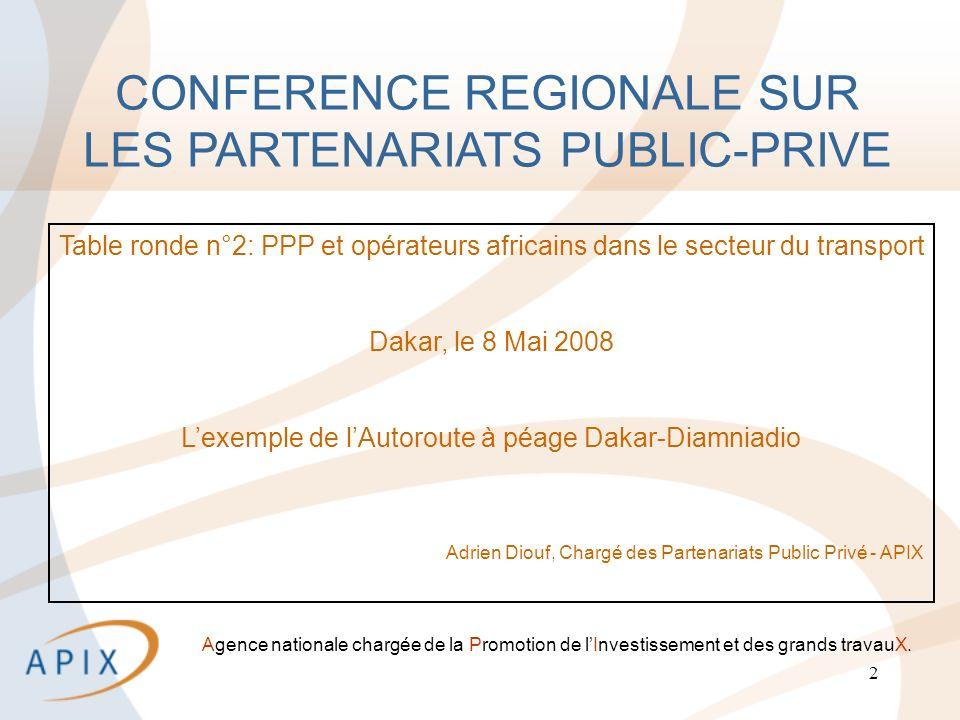 2 Agence nationale chargée de la Promotion de lInvestissement et des grands travauX.