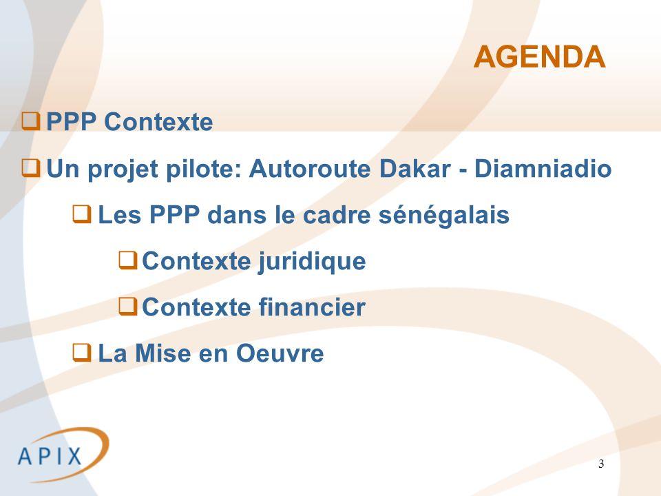 3 AGENDA PPP Contexte Un projet pilote: Autoroute Dakar - Diamniadio Les PPP dans le cadre sénégalais Contexte juridique Contexte financier La Mise en Oeuvre