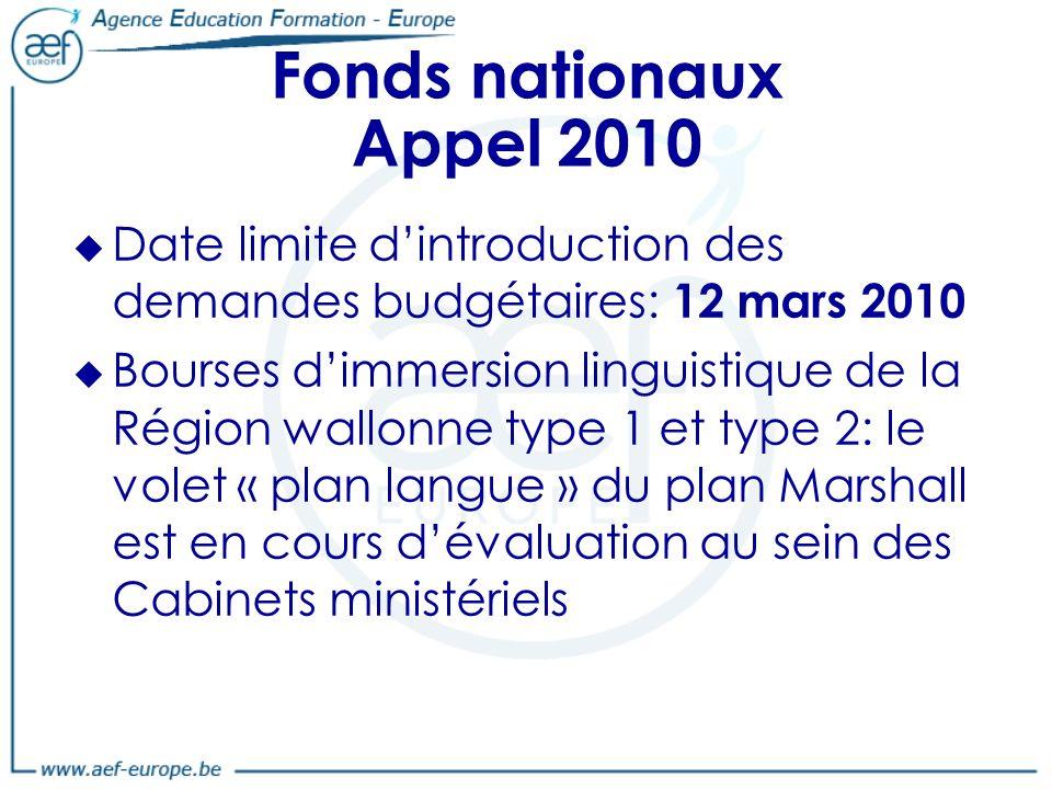 Fonds nationaux Appel 2010 Date limite dintroduction des demandes budgétaires: 12 mars 2010 Bourses dimmersion linguistique de la Région wallonne type 1 et type 2: le volet « plan langue » du plan Marshall est en cours dévaluation au sein des Cabinets ministériels