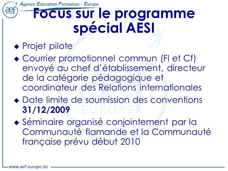 Focus sur le programme spécial AESI Projet pilote Courrier promotionnel commun (Fl et Cf) envoyé au chef détablissement, directeur de la catégorie pédagogique et coordinateur des Relations internationales Date limite de soumission des conventions 31/12/2009 Séminaire organisé conjointement par la Communauté flamande et la Communauté française prévu début 2010