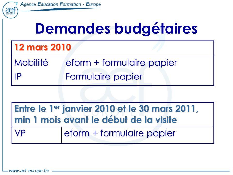 Demandes budgétaires 12 mars 2010 MobilitéIP eform + formulaire papier Formulaire papier Entre le 1 er janvier 2010 et le 30 mars 2011, min 1 mois avant le début de la visite VP eform + formulaire papier
