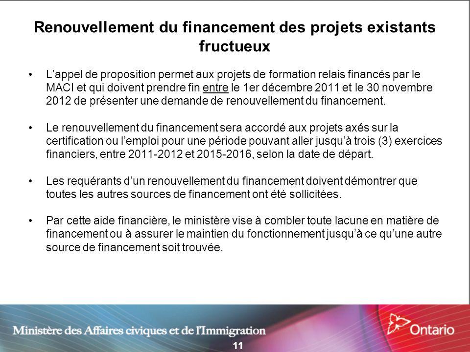 11 Renouvellement du financement des projets existants fructueux Lappel de proposition permet aux projets de formation relais financés par le MACI et qui doivent prendre fin entre le 1er décembre 2011 et le 30 novembre 2012 de présenter une demande de renouvellement du financement.