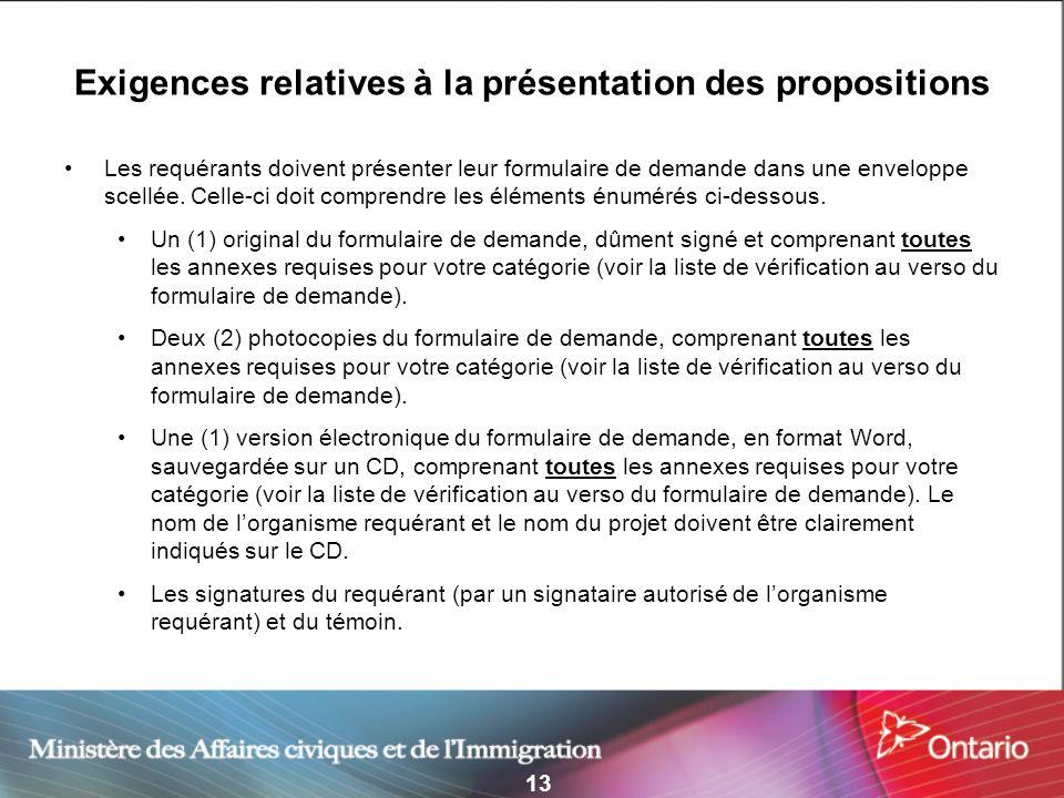 13 Exigences relatives à la présentation des propositions Les requérants doivent présenter leur formulaire de demande dans une enveloppe scellée. Cell