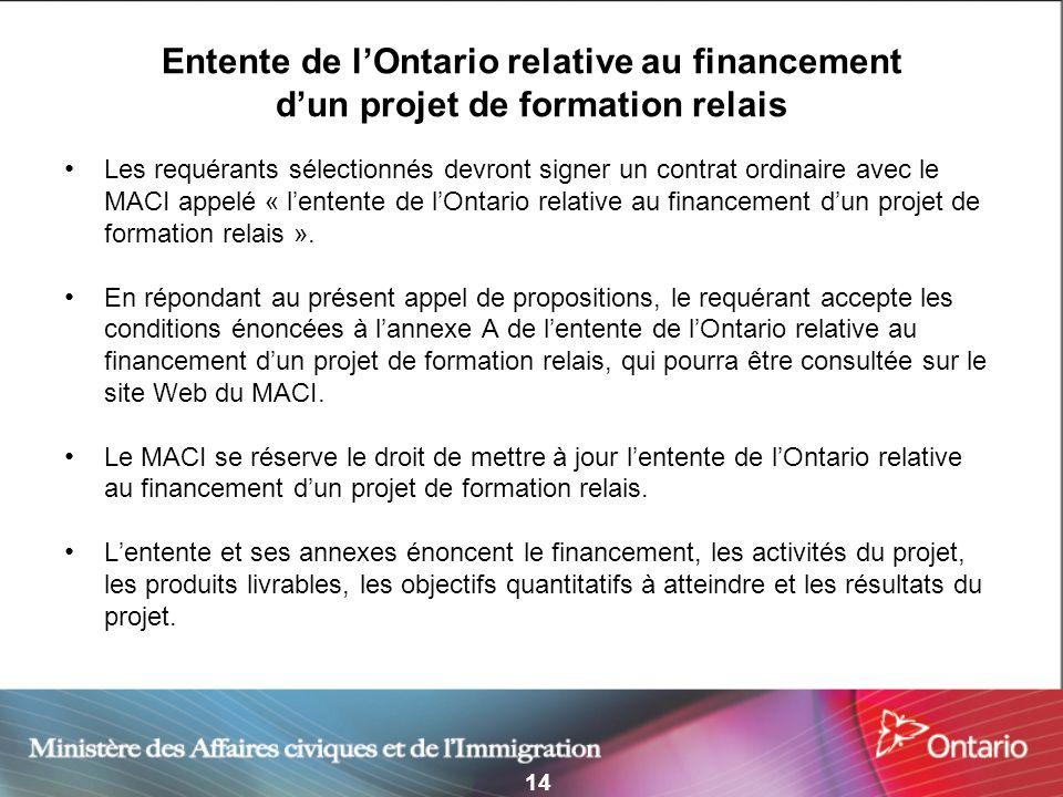 14 Entente de lOntario relative au financement dun projet de formation relais Les requérants sélectionnés devront signer un contrat ordinaire avec le
