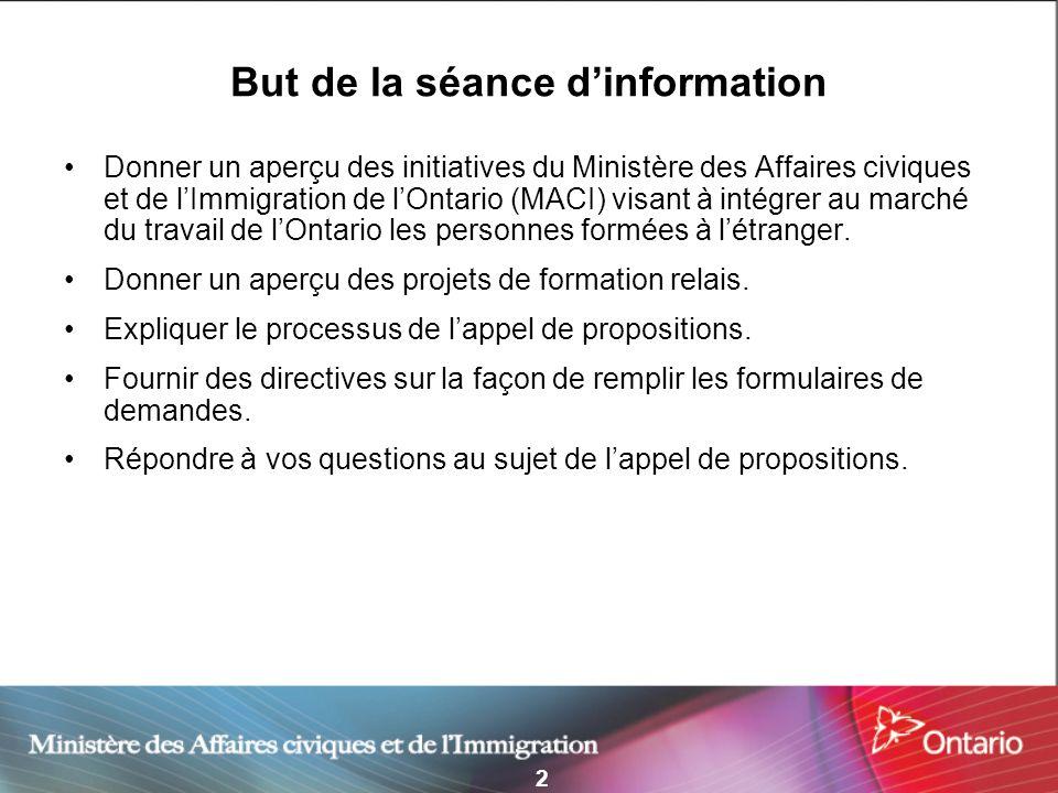 2 But de la séance dinformation Donner un aperçu des initiatives du Ministère des Affaires civiques et de lImmigration de lOntario (MACI) visant à int