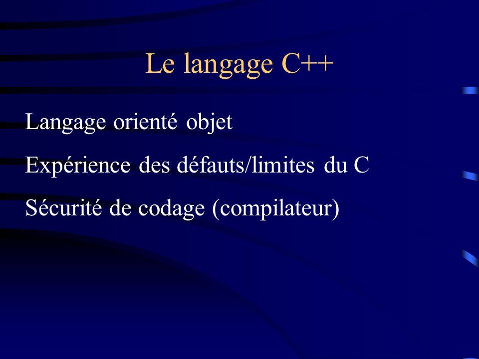 Le langage C++ Langage orienté objet Expérience des défauts/limites du C Sécurité de codage (compilateur)