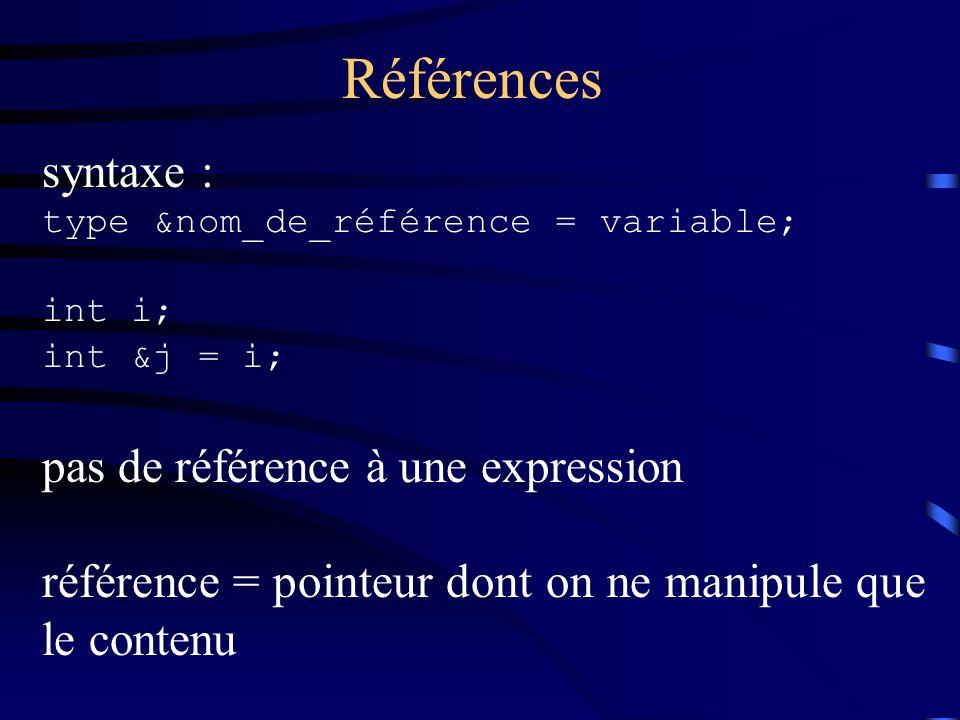 Références syntaxe : type &nom_de_référence = variable; int i; int &j = i; pas de référence à une expression référence = pointeur dont on ne manipule que le contenu