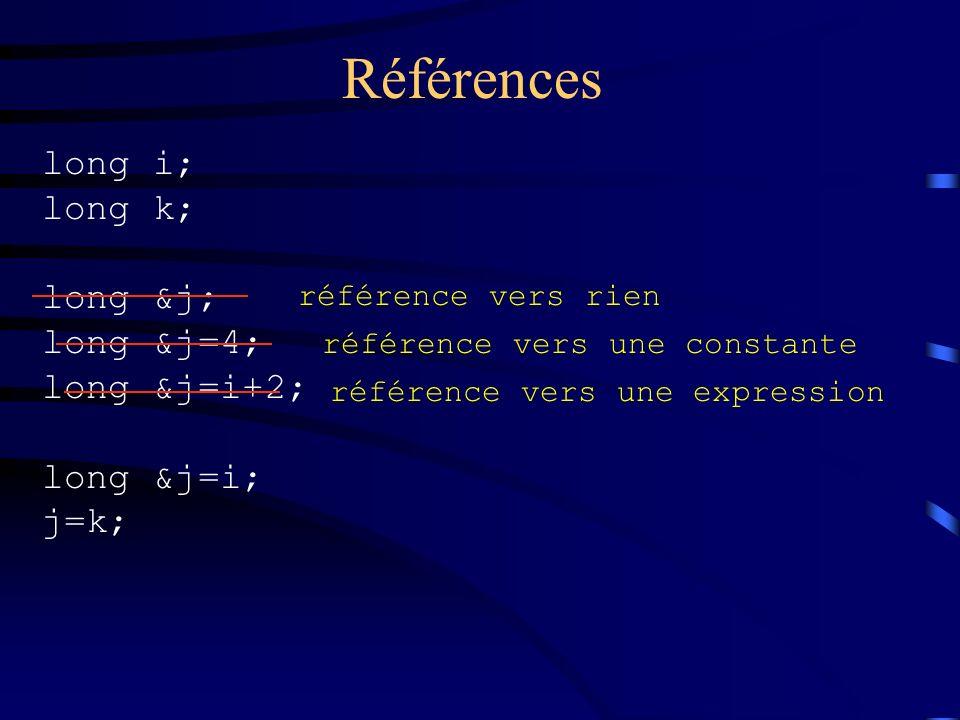 Références long i; long k; long &j; long &j=4; long &j=i+2; long &j=i; j=k; référence vers rien référence vers une constante référence vers une expres
