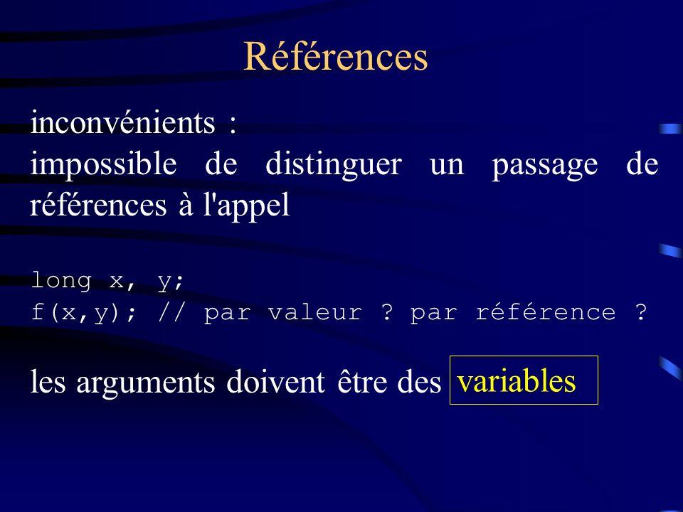 Références inconvénients : impossible de distinguer un passage de références à l'appel long x, y; f(x,y); // par valeur ? par référence ? les argument