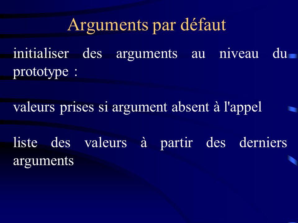 Arguments par défaut initialiser des arguments au niveau du prototype : valeurs prises si argument absent à l'appel liste des valeurs à partir des der