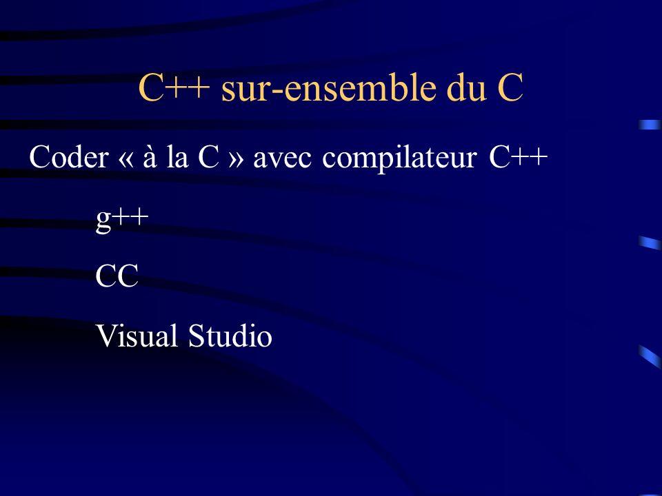 C++ sur-ensemble du C Coder « à la C » avec compilateur C++ g++ CC Visual Studio
