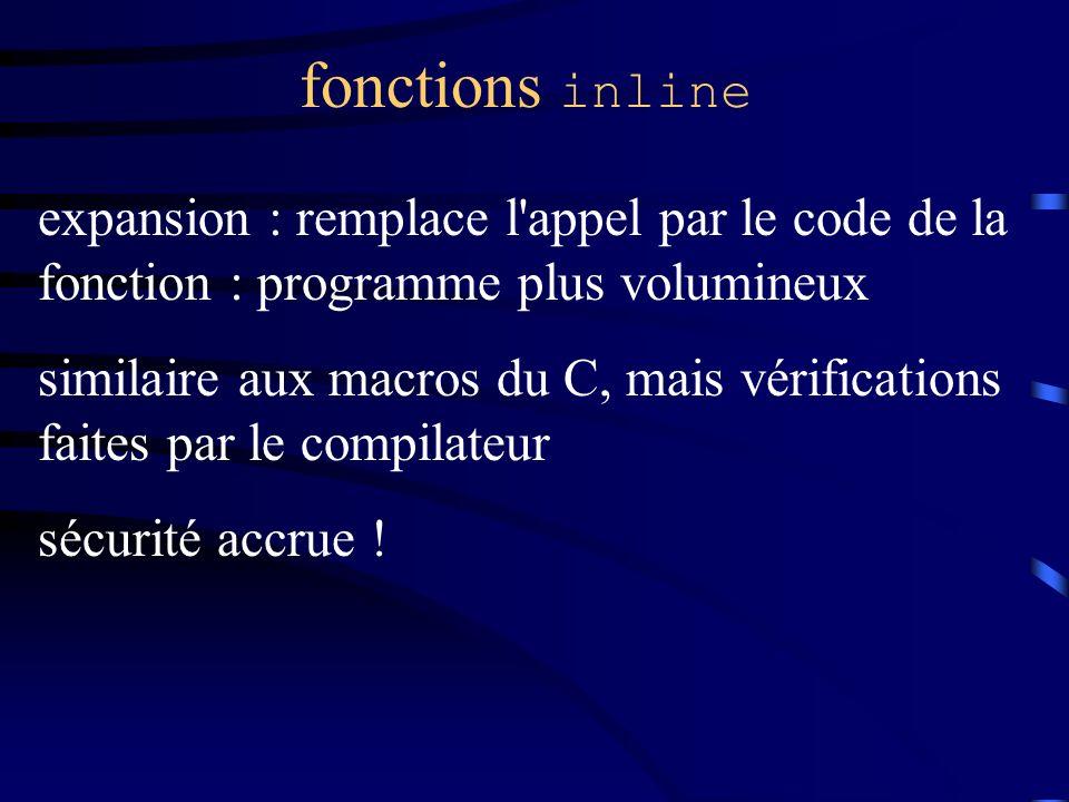 fonctions inline expansion : remplace l appel par le code de la fonction : programme plus volumineux similaire aux macros du C, mais vérifications faites par le compilateur sécurité accrue !