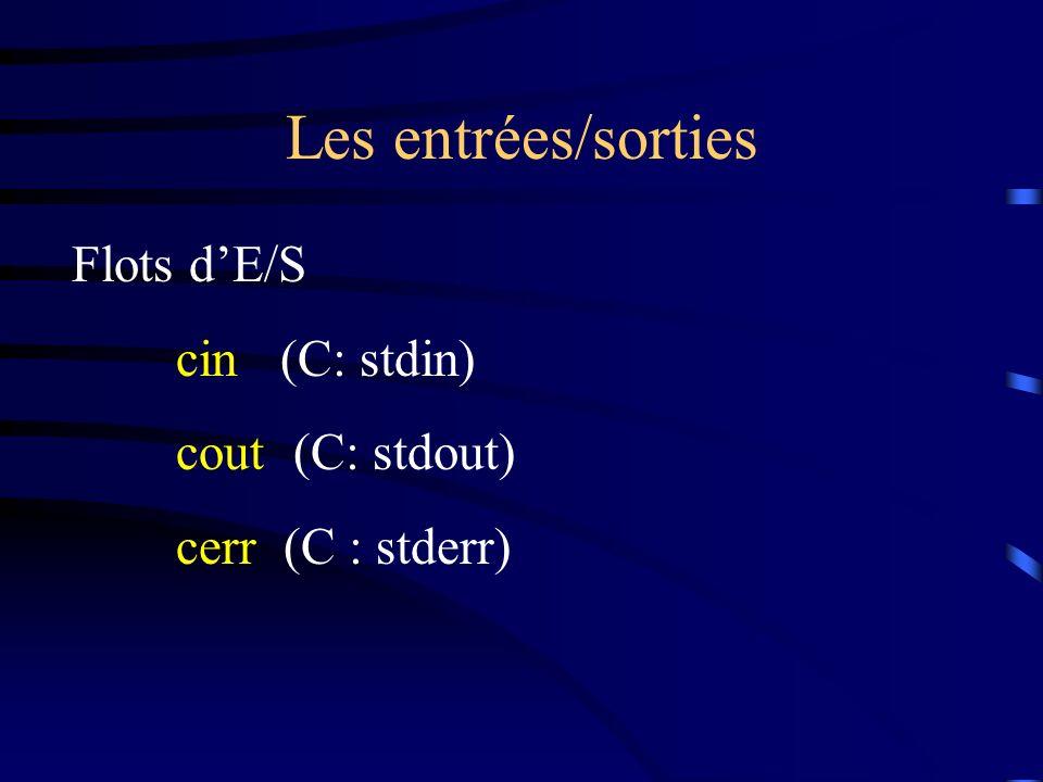 Les entrées/sorties Flots dE/S cin(C: stdin) cout (C: stdout) cerr (C : stderr)