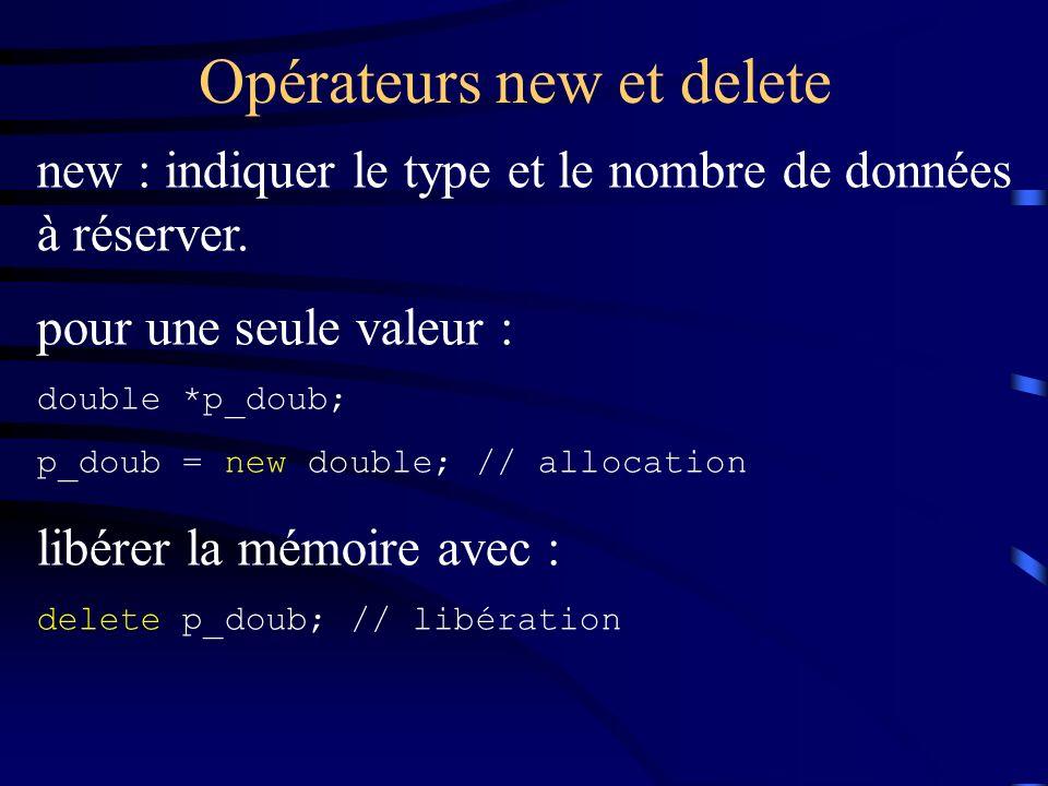 Opérateurs new et delete new : indiquer le type et le nombre de données à réserver. pour une seule valeur : double *p_doub; p_doub = new double; // al