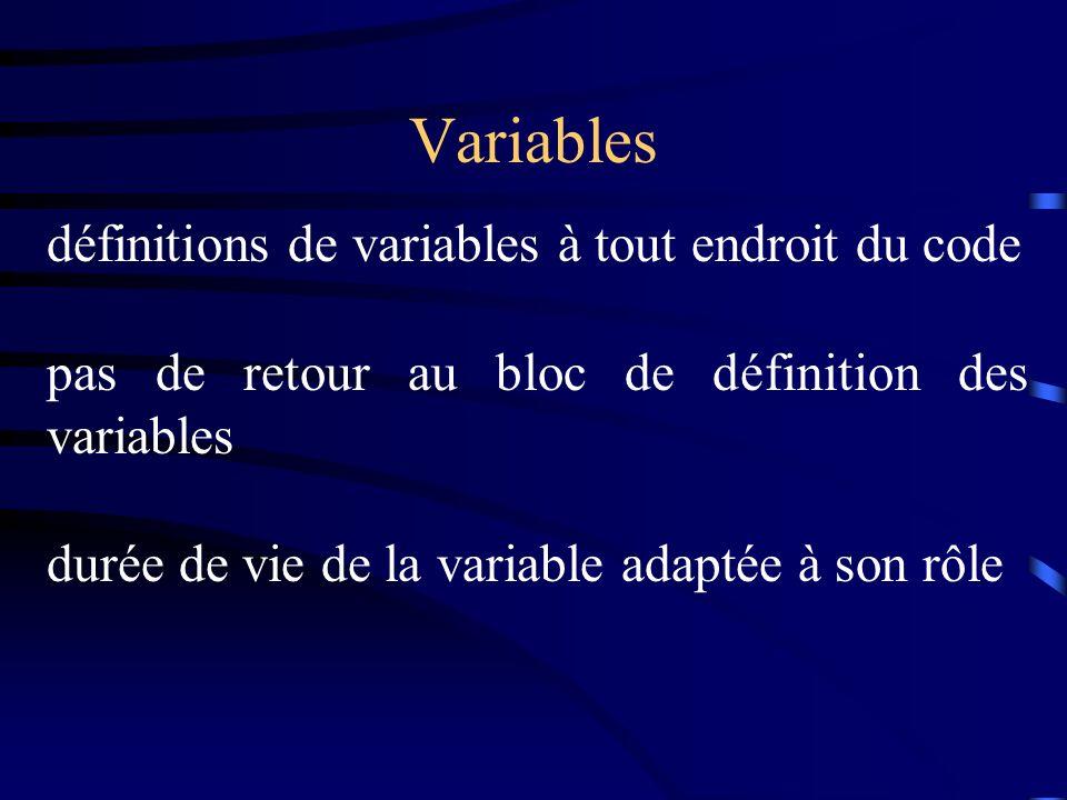 Variables définitions de variables à tout endroit du code pas de retour au bloc de définition des variables durée de vie de la variable adaptée à son