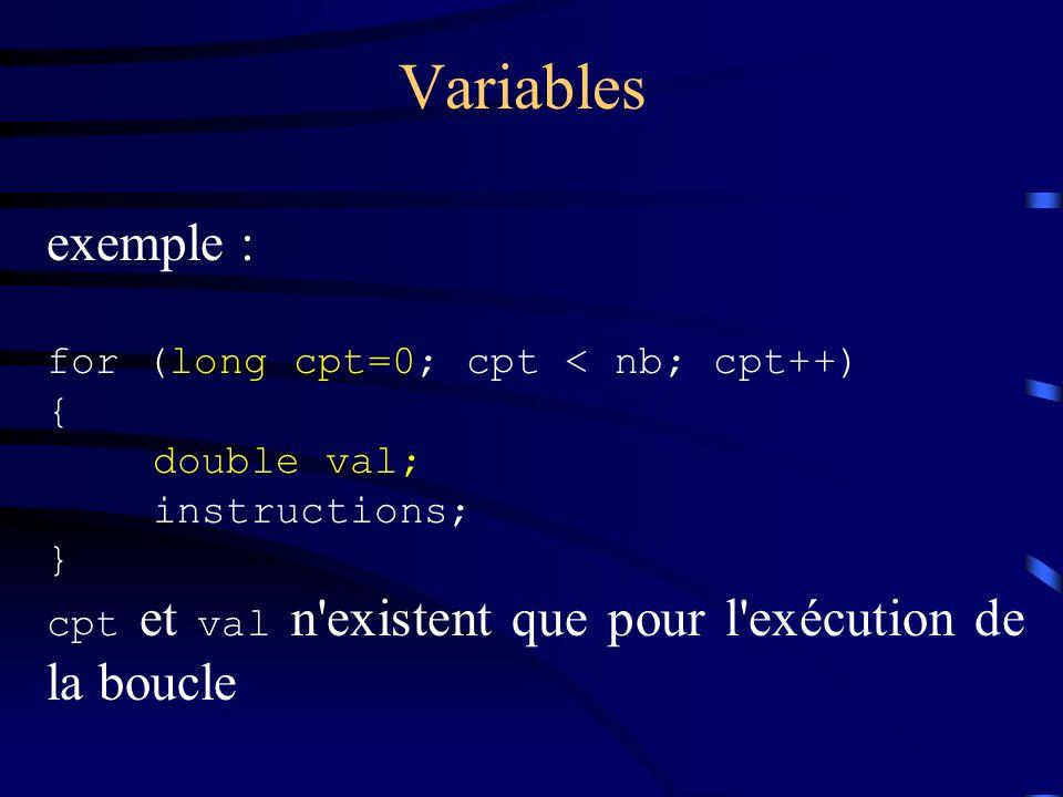 Variables exemple : for (long cpt=0; cpt < nb; cpt++) { double val; instructions; } cpt et val n'existent que pour l'exécution de la boucle