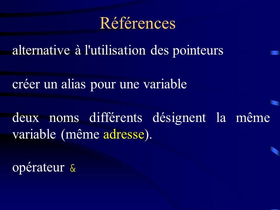 Références alternative à l utilisation des pointeurs créer un alias pour une variable deux noms différents désignent la même variable (même adresse).