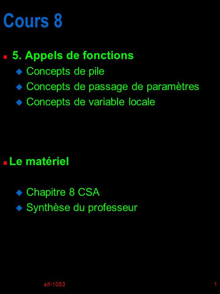 sif-105322 Introduction au ISA de MIC-1 n Jeu dinstructions u Instruction INVOKEVIRTUAL F disp indique la position dans lespace des constantes où est située ladresse de départ de la procédure dans lespace des programmes F Au début de chaque procédure nous trouvons 4 octets: 2 octets (16 bits) donnant le nombre de paramètres (OBJREF inclus) 2 octets (16 bits) donnant la dimension de lespace des variables locales