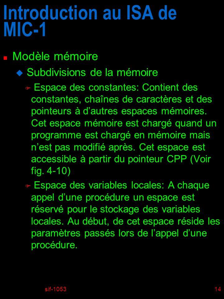 sif-105314 Introduction au ISA de MIC-1 n Modèle mémoire u Subdivisions de la mémoire F Espace des constantes: Contient des constantes, chaînes de car