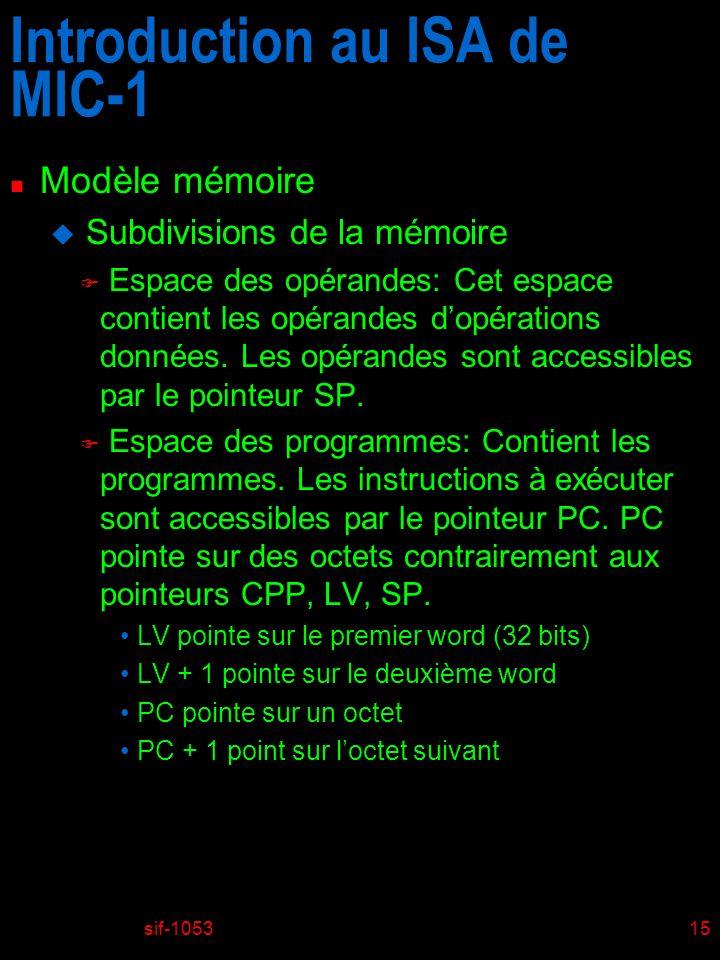 sif-105315 Introduction au ISA de MIC-1 n Modèle mémoire u Subdivisions de la mémoire F Espace des opérandes: Cet espace contient les opérandes dopéra