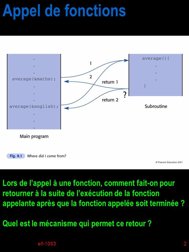 sif-10533 Appel de fonctions Dans un environnement multitâche, plusieurs programmes peuvent faire appel à des fonctions dans une librairie dynamique Comment les variables locales peuvent-elles rester intègre ?