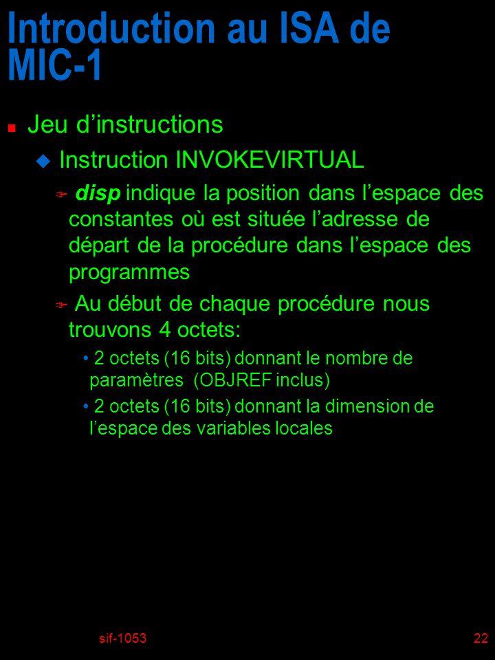 sif-105322 Introduction au ISA de MIC-1 n Jeu dinstructions u Instruction INVOKEVIRTUAL F disp indique la position dans lespace des constantes où est
