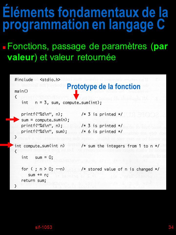 sif-105334 Éléments fondamentaux de la programmation en langage C n Fonctions, passage de paramètres (par valeur) et valeur retournée Prototype de la