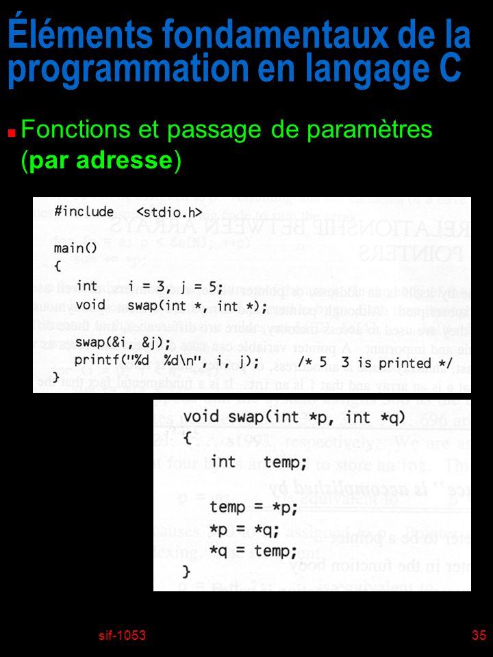 sif-105335 Éléments fondamentaux de la programmation en langage C n Fonctions et passage de paramètres (par adresse)