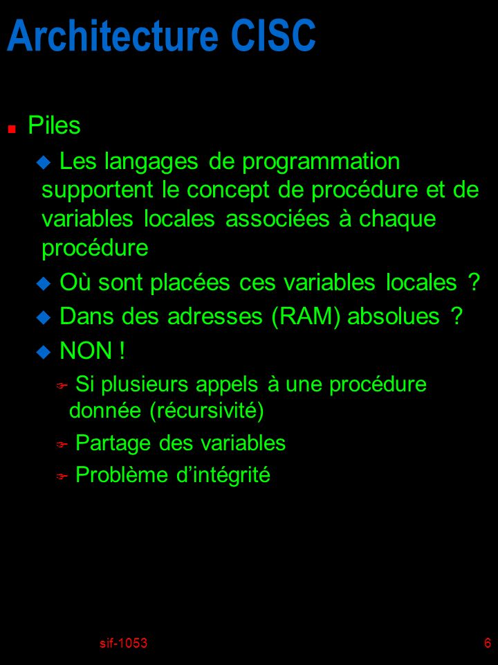 sif-105327 Introduction au ISA de MIC-1 PROCA(P1,P2) PROCB(P1,P2,P3) RETURN_B RETURN_A SP <- SP + # var.