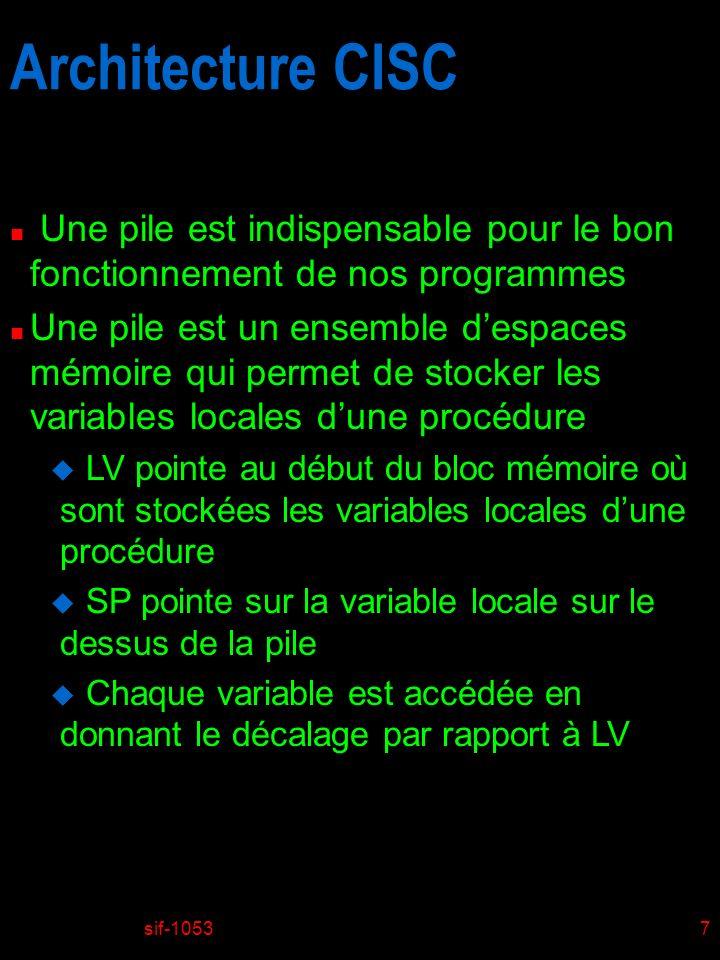 sif-105328 Introduction au ISA de MIC-1 n Jeu dinstructions u Instruction IRETURN F Phases dexécution (Voir fig.