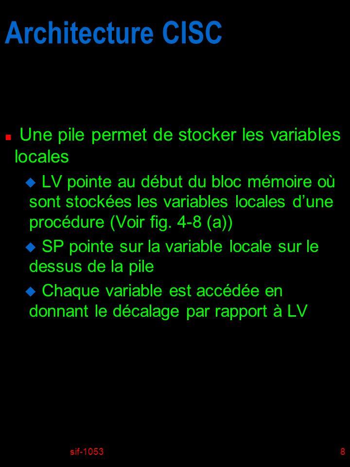 sif-10538 Architecture CISC n Une pile permet de stocker les variables locales u LV pointe au début du bloc mémoire où sont stockées les variables locales dune procédure (Voir fig.