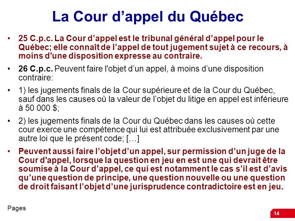 14 La Cour dappel du Québec 25 C.p.c. La Cour dappel est le tribunal général dappel pour le Québec; elle connaît de lappel de tout jugement sujet à ce