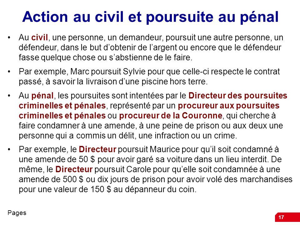 17 Action au civil et poursuite au pénal Au civil, une personne, un demandeur, poursuit une autre personne, un défendeur, dans le but dobtenir de largent ou encore que le défendeur fasse quelque chose ou sabstienne de le faire.
