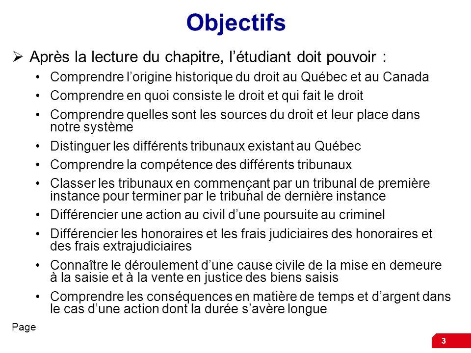 3 Objectifs Après la lecture du chapitre, létudiant doit pouvoir : Comprendre lorigine historique du droit au Québec et au Canada Comprendre en quoi c