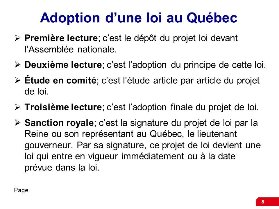 Adoption dune loi au Québec Première lecture; cest le dépôt du projet loi devant lAssemblée nationale. Deuxième lecture; cest ladoption du principe de