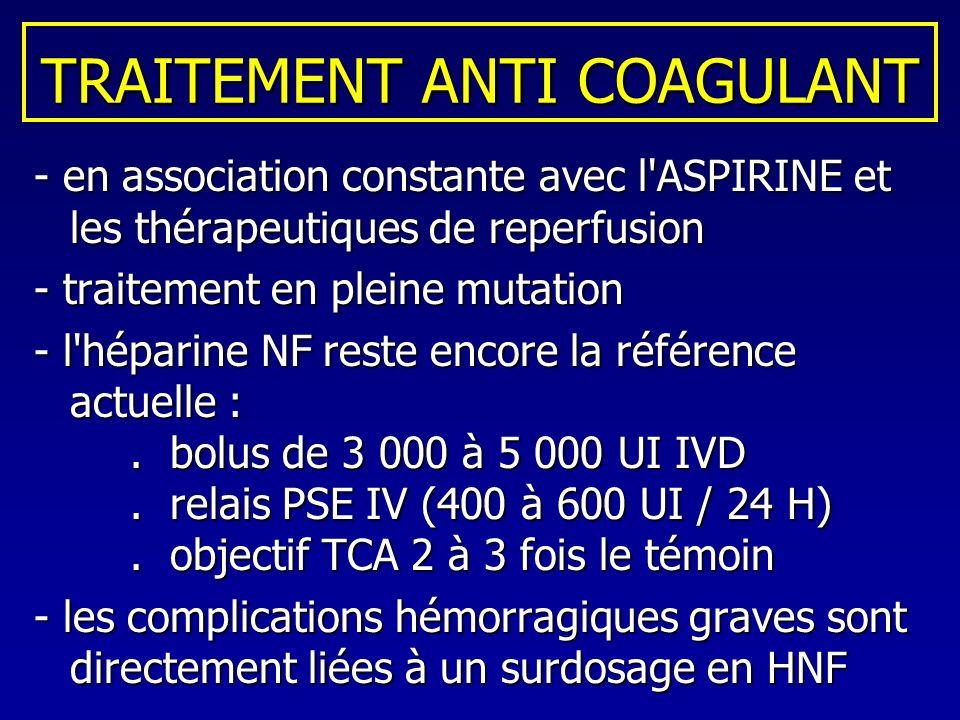 TRAITEMENT ANTI COAGULANT - en association constante avec l'ASPIRINE et les thérapeutiques de reperfusion - traitement en pleine mutation - l'héparine