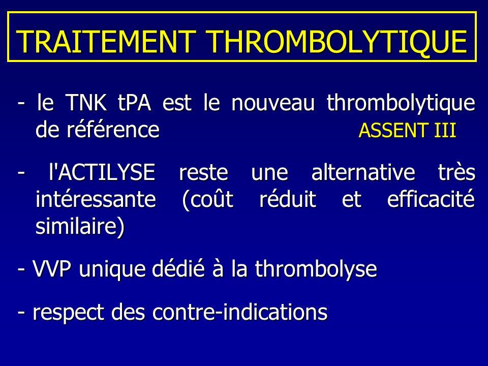TRAITEMENT THROMBOLYTIQUE - le TNK tPA est le nouveau thrombolytique de référence ASSENT III - l'ACTILYSE reste une alternative très intéressante (coû