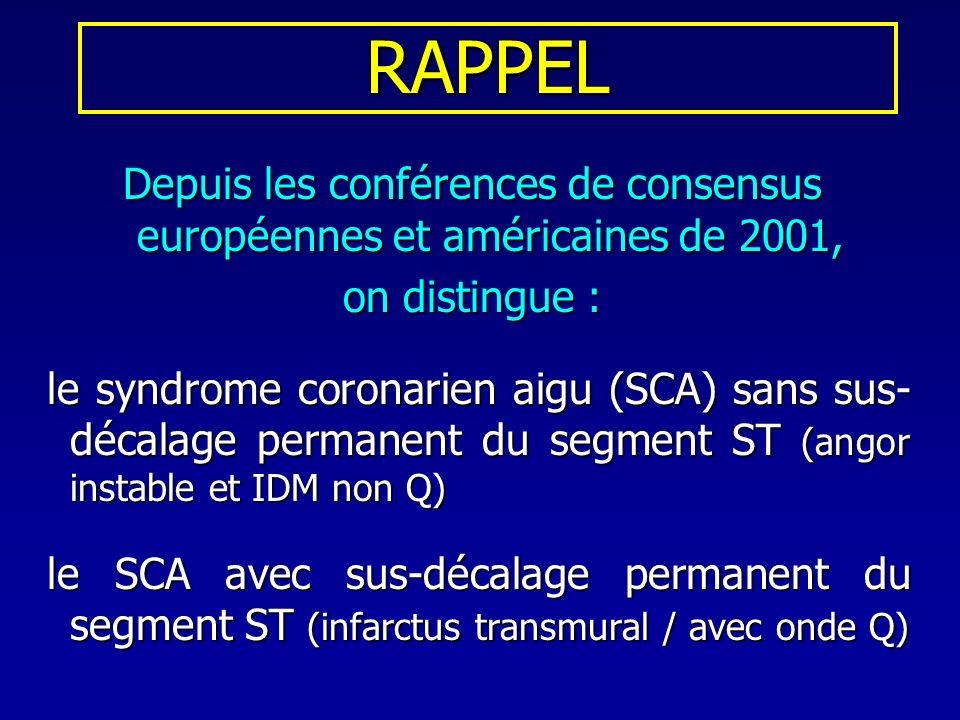 RAPPEL Depuis les conférences de consensus européennes et américaines de 2001, on distingue : le syndrome coronarien aigu (SCA) sans sus- décalage per