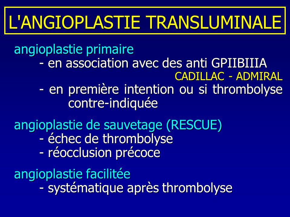 L'ANGIOPLASTIE TRANSLUMINALE angioplastie primaire angioplastie primaire - en association avec des anti GPIIBIIIA CADILLAC - ADMIRAL - en première int