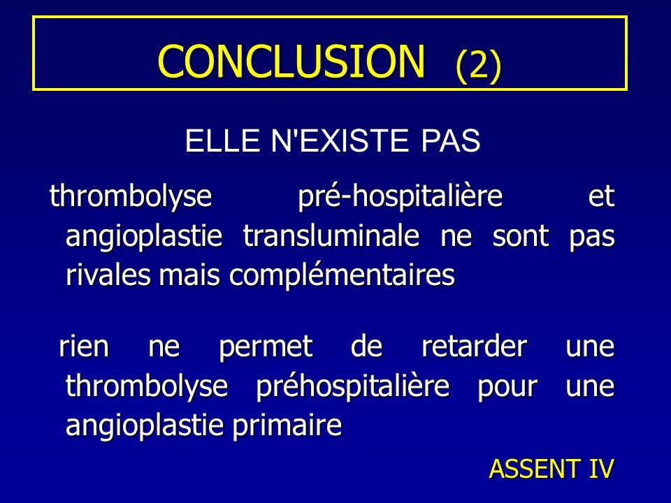 CONCLUSION (2) thrombolyse pré-hospitalière et angioplastie transluminale ne sont pas rivales mais complémentaires thrombolyse pré-hospitalière et ang