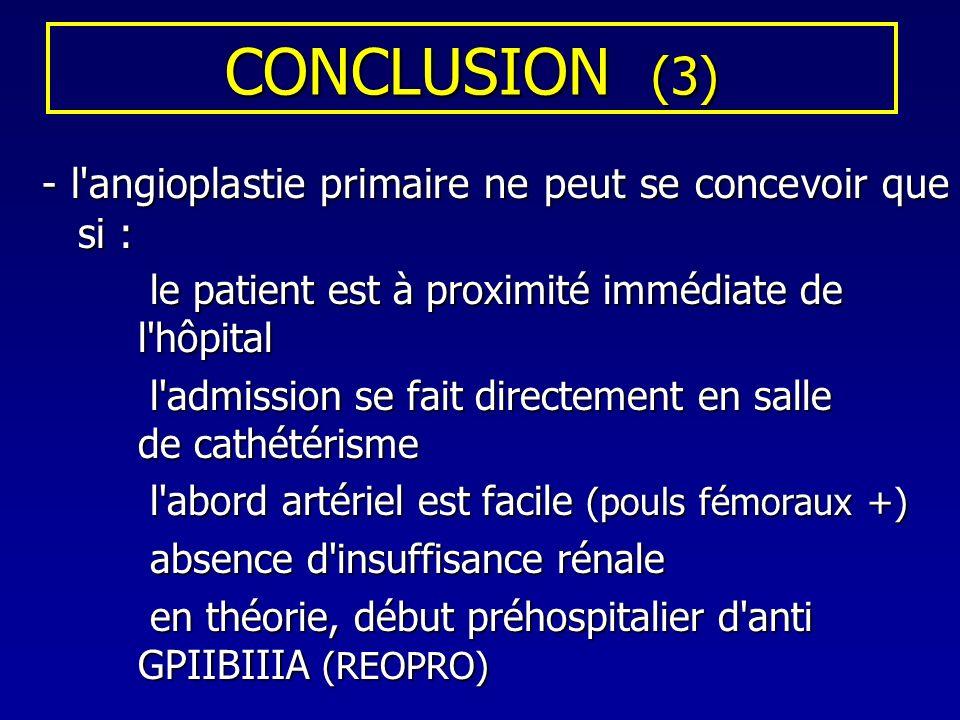 CONCLUSION (3) - l'angioplastie primaire ne peut se concevoir que si : le patient est à proximité immédiate de l'hôpital le patient est à proximité im