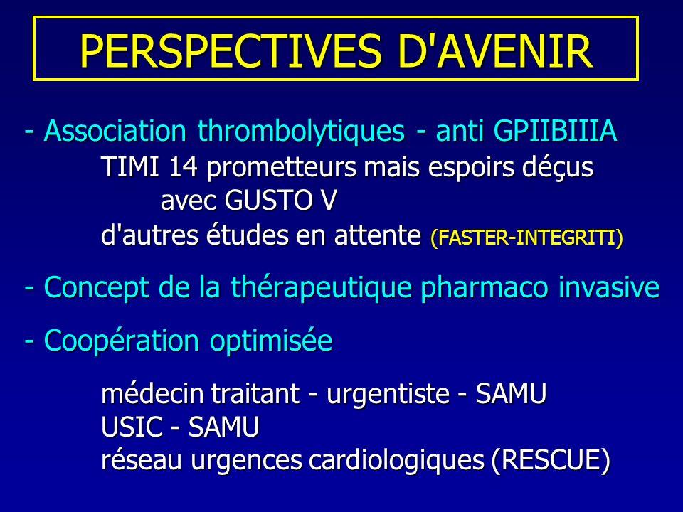 PERSPECTIVES D'AVENIR - Association thrombolytiques - anti GPIIBIIIA TIMI 14 prometteurs mais espoirs déçus avec GUSTO V TIMI 14 prometteurs mais espo