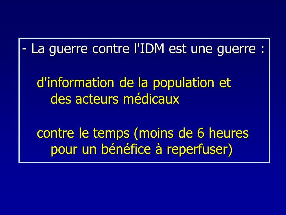 - La guerre contre l'IDM est une guerre : d'information de la population et des acteurs médicaux d'information de la population et des acteurs médicau